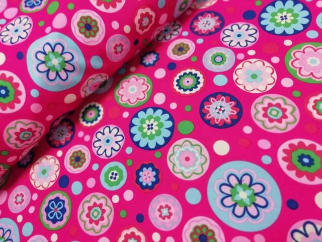 softshell hilco bloemen cirkels roze blauw paars groen
