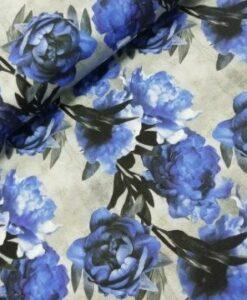stenzo bloemen koblatblauw grijs katoenen tricot