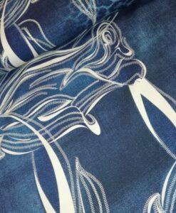 stenzo bloemen blauw ecru katoenen tricot randdessin