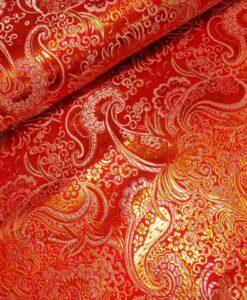 brokaat bloemen rood oranje goud wit