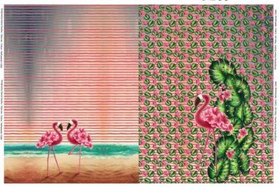 flamingo bladeren panel stenzo
