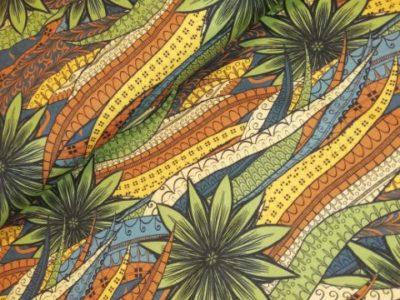 stenzo bladeren etnisch groen roest geel katoenen tricot