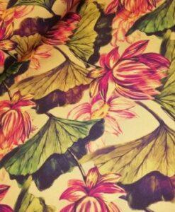 stezo bloemen groen geel oudroze katoenen tricot