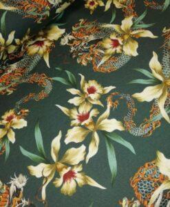 stenzo groen bloemen chinese draak katoenen tricot
