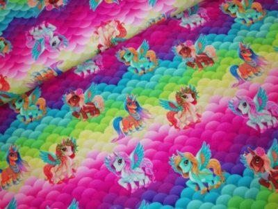 pony eenhoorn vleugels regenboog digitale katoenen tricot stenzo