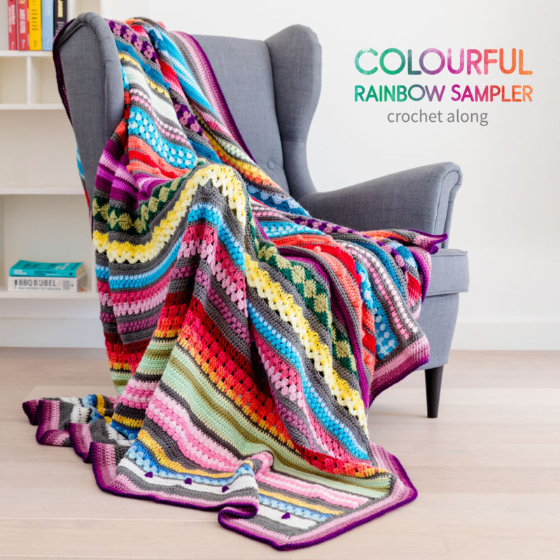 colourfulrainbow sampler blanket CAL