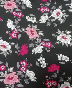 viscose bloemen zwart fuchsia roze wit