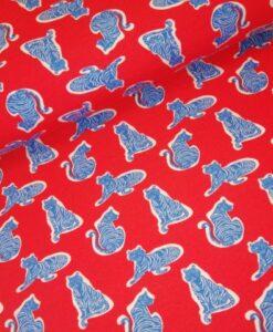 tijgers rood blauw fierce katoenen tricot