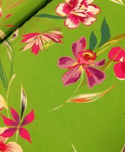 viscose crepe bloemen groen