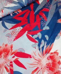 viscose bloemen blauw rood