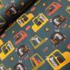 auto's dieren petrol geel roest katoenen tricot Stenzo