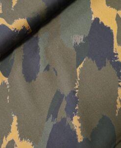 viscose camouflage groen kaki zwart