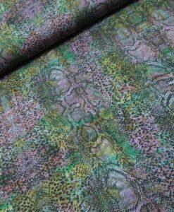 viscose slangenprint groen lila