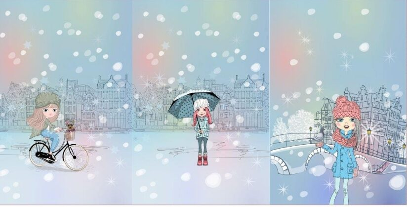 paneel meisjes sneeuw french terry