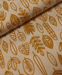 stenzo katoenen popeline bladeren oker geel