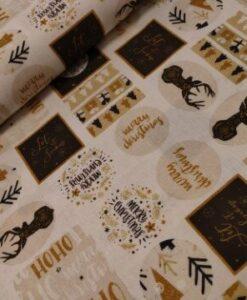 kerst katoenen popeline vlakken wit goud zwart