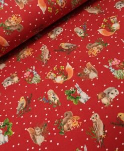 stenzo bosdieren rood stippen digitale katoenen tricot