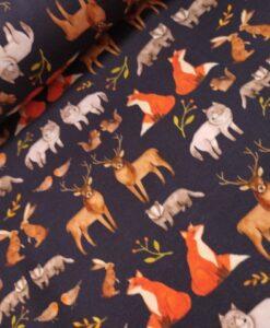 stenzo digitale katoenen tricot blauw bosdieren