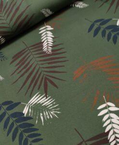 swafing bladeren legergroen, rood zwart tricot