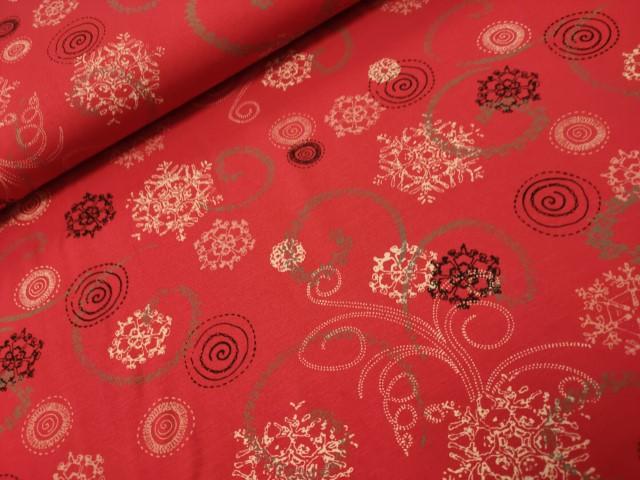 sarah snowflake rood viscose tricot