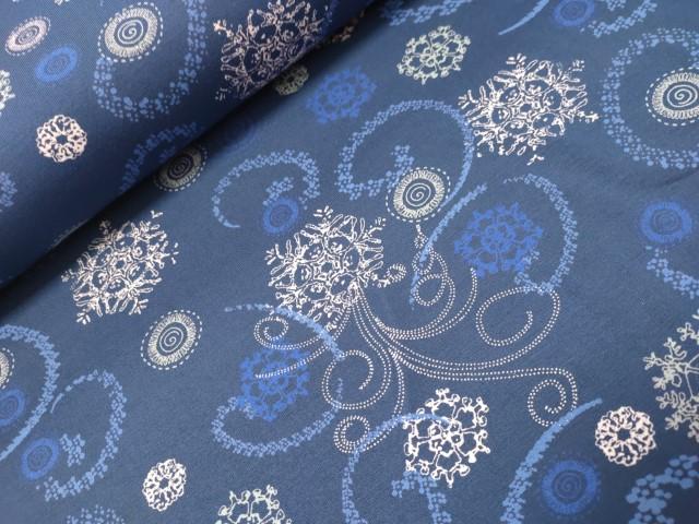 sarah snowflake blauw viscose tricot
