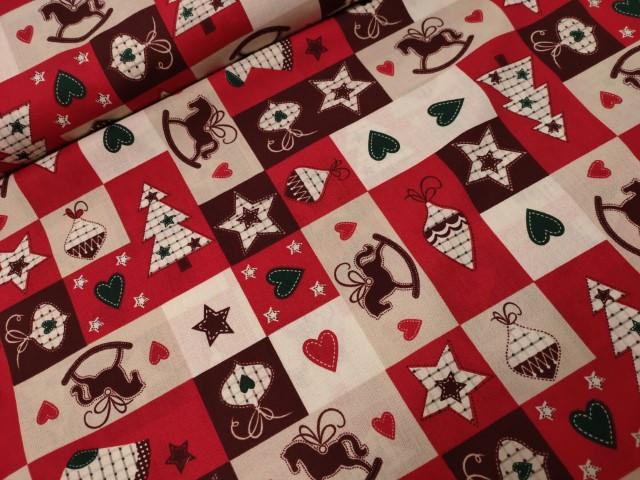 kerst katoenen popeline rood ecru bordeaux