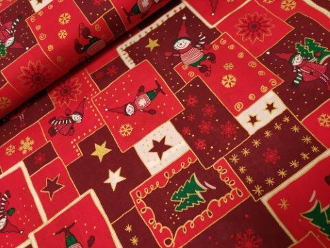 Kerst katoenen prolepline valkken rood bordeaux goud