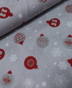 kerst katoenen [opeline grijs rood kerstballen