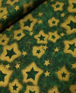 kerst sterren groen goud katoenen popeline