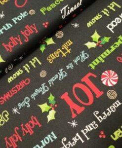 kerstteksen zwart kleur katoenen popeline