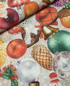 kerstballen fotoprint digital katoenen popeline