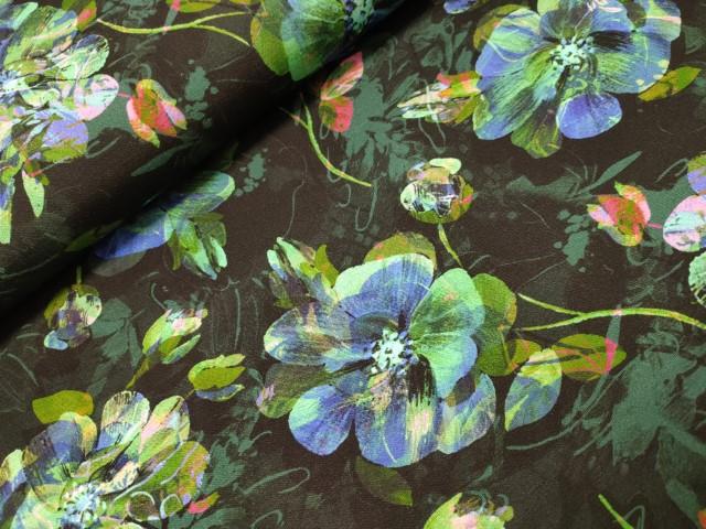 viscose tricot small bright flowers polytex