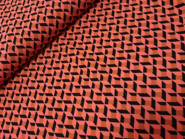 vlakken koraal zwart polyester block print