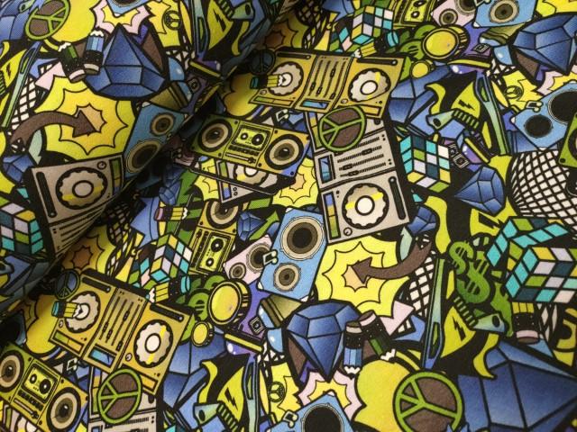 Muziekapparaten geel blauw digitale tricot Zanders