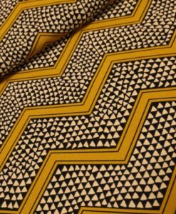 zigzg oker zwart ecru polyester polytex
