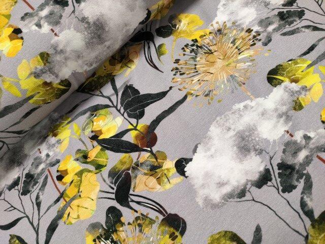 bloemen grijs geel digitale katoenen tricot