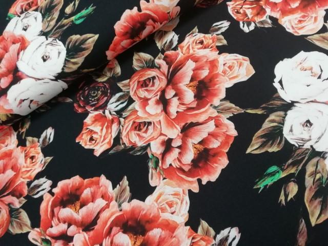 Nooteboo digitale tricot zwart rode bloemen