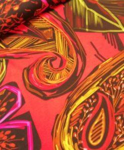paisley bloem rood multi katoenen tricot Nooteboom