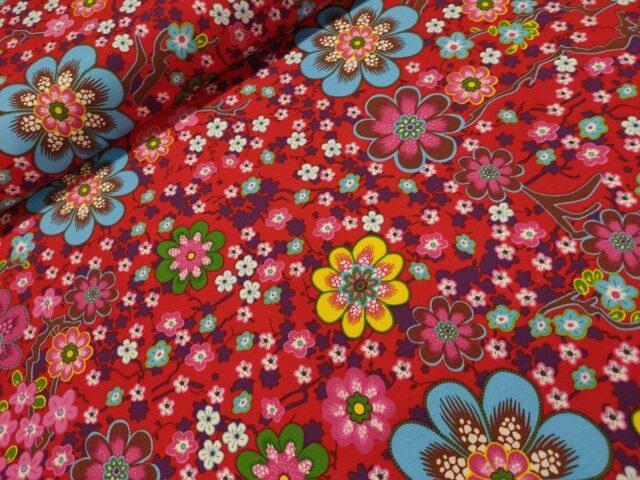 ilja flowerprint katoenen tricot rood
