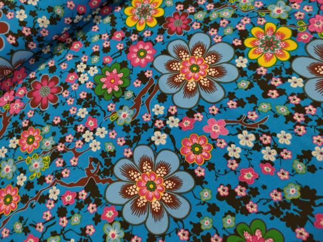 ilja flower print blauw katoenen tricot