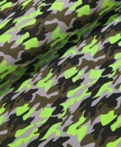 camouflage neon groen katoenen tricot
