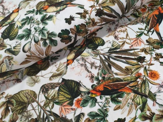 vogels bladern groen oranje katoenen tricot