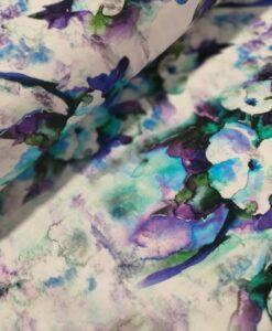 bloeman aquarel blauw paar wit katoenen tricot