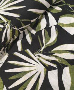 palmbladeren goern ecru marine linnenlook