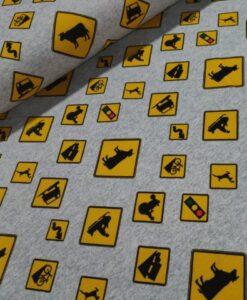waarschuwingsvbrden geel gemeleed grijs french terry