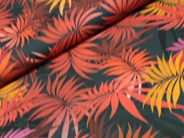 katoenen trtch palmbladeren rood zwart