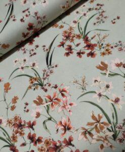 katoenen stretch bloemen zachtgroen roest