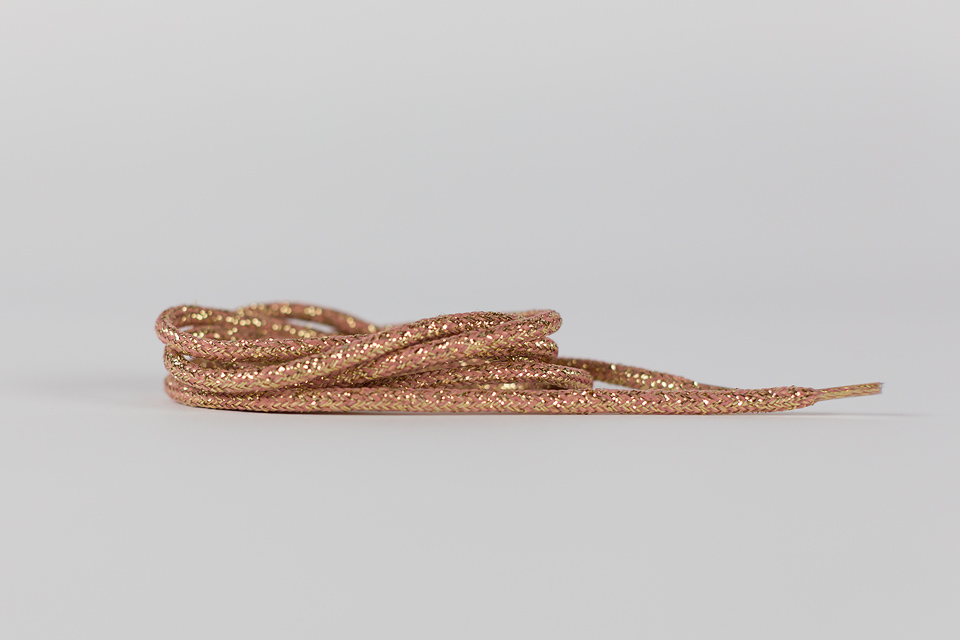 see you at six shoelaces rose with gold lurex