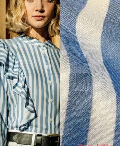 fibre mood viscose streep blauw wit PAULETTE