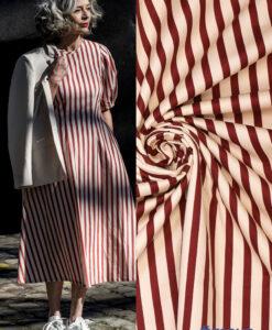 Streep rood ecru stretchkatoen maya jurk Fibre Mood